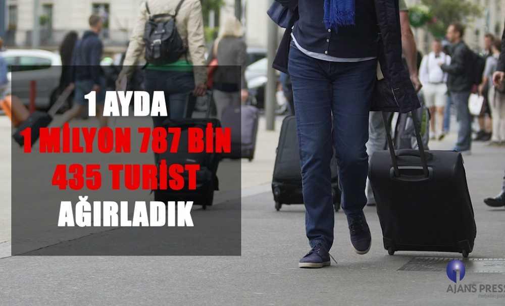 1 ayda gelen turist sayısı 1 milyon 787 bin 435 oldu...